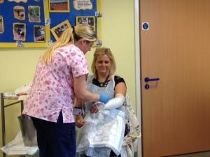 Miss Tibbett getting a plaster cast