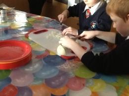 Chopping onions
