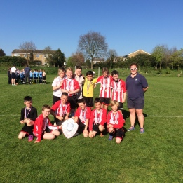 The Year 5/6 Football team with Miss Lizell   Spring Term Tournament Final Winners